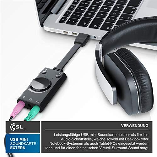 CSL - USB Mini Soundkarte extern - Virtuelles Surround - kompatibel mit Computer Notebook Tablet-PC MacBook - Plug and Play - Windows 10 kompatibel - schwarz