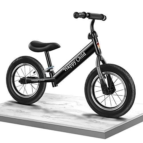 WTING Bicicleta de Equilibrio, Bicicleta Sin Pedales Infantil para niños de 2 a 6 años, Manillar y Asiento Regulables con Ruedas de Goma EVA,Balance Bike de Aluminio,Negro