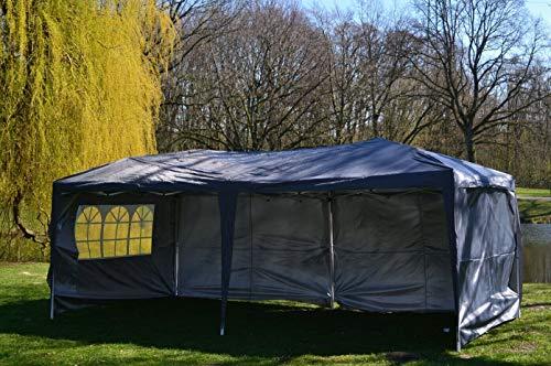 Defacto® Pavillon 3x6m Faltpavillon Gartenzelt Partyzelt Garten Popup-Faltbar PVC-Oxford -100% wasserdicht 4- Seitenwand (3volle Wand in 3m und 1 Fenster) Tragetasche mit Seile und Heringe