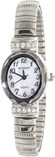Ladies Classic Oval Case Silver Tone Stretch Band Watch with Crystal Accent