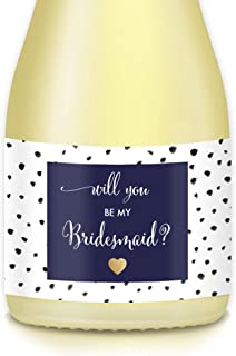 Will You Be My Bridesmaid? Set of 10 Wedding Party Proposal Labels for Mini Champagne Bottles, Bride Ask BFF Maid Matron of Honor, 3.5