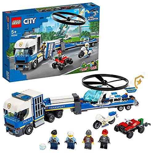 LEGO 60244 City Policía: Camión de Transporte del Helicóptero, Set de Construcción para Niños +5 años