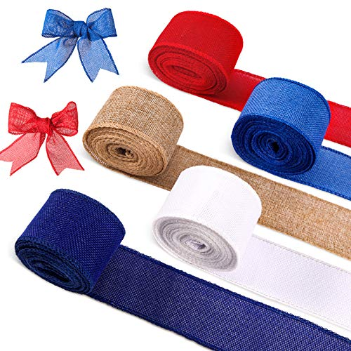 5 Roll/30 Yard Independence Wire Edge Ribbon Patriotic Theme Ribbon Blue Red White Ribbon for 4th of July Craft Patriotic Craft Home Decor Wrapping
