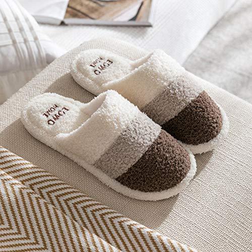 Filzpantoffeln Puschen Plüsch Wasserdicht,Warm Home Slipper Schuhe für Frauen Slip-on Anti-Rutsch-Blume Indoor Casual Schuhe Snow Slipper-Kaffee_43EU/44EU