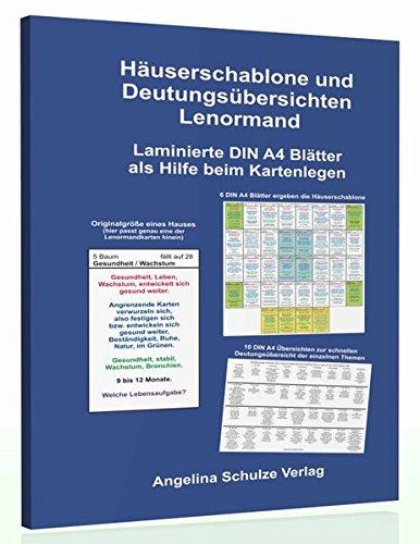 Häuserschablone und Deutungsübersichten Lenormand: Laminierte DIN A4 Blätter als Hilfe beim Kartenlegen