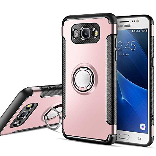 MaiJin Funda para Samsung Galaxy J5 2016 SM-J510F (5,2 Pulgadas) Multifunción Anillo sostenedor movil de 360 Grados con función de Soporte Rugged Armor Cover Case (Oro Rosa)