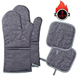 Tormays 4pcs Oven Mitts and Pot Holders Sets, 572 Heat Resistant Oven Glove, Soft Cotton Lining with Non-Slip...