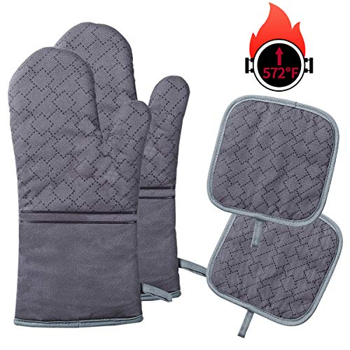 YOUTAI Oven Mitts and Pot Holders 4PCS Oven Mitts Set Heat Resistant up to 572 F/300°C NonSlip Food Grade Kitchen Mitten Silicone Cooking Gloves for Kitchen BBQ Cooking Baking Grilling