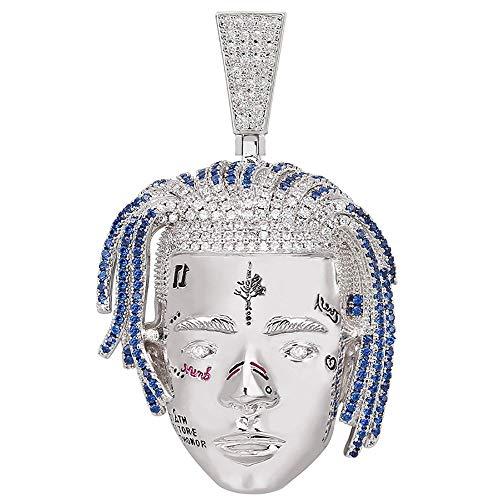 Xxxtentacion Ice Out Chain,18 Karat Gold Unisex-Halskette mit Anhänger, Strass, Zirkonia, Kette für Herren Damen