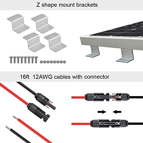 ECO-WORTHY 100 Watt Solar Panel RV Boat Kit with 1000W Off Grid Power Inverter for 12 Volt Battery System