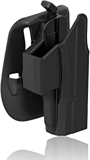 Paddle Holster Compatible with Glock 19 19X 23 32 45 (Gen 1-5), Polymer Tactical Outside Waistband Pants Belt Holster with Thumb Release Adjustable Cant for OWB Carry, Right-Handed, Black Finish