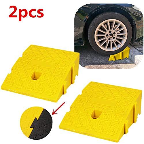 Yunhigh-uk Rampe für Auto, tragbare leichte stabile Hochleistungs-Kunststoff-Bordstein rampen Auffahrkeil für Rollstuhl, Roller, Anhänger, LKW, Fahrrad, Motorrad (2 Stück: schwarz)
