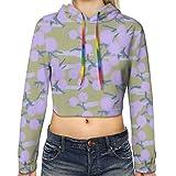 Photo de Lilac Puffballs on Pale Gold Women's Sports Long Sleeve Crop Hoodie Sweatshirt Top Pullover Hooded Sweatshirt