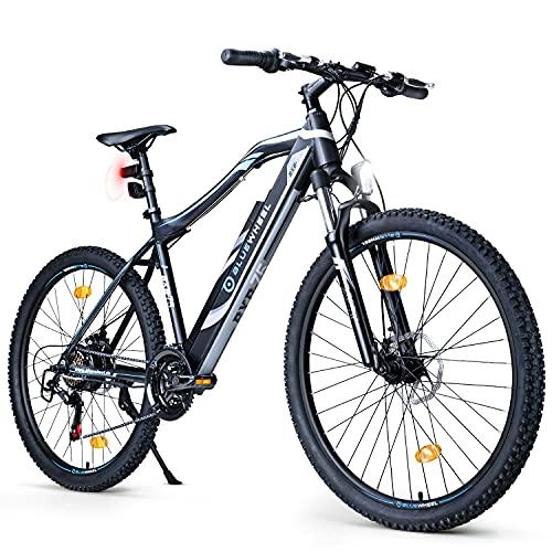 BLUEWHEEL e-bike 27.5  & 29  I Marca Alemana de Calidad | Bicicleta de montaña eléctrica | Conforme a UE | 21 Marchas y Motor Trasero 25 km h | Horquilla de suspensión MTB, App y Sillín de gel | BXB75