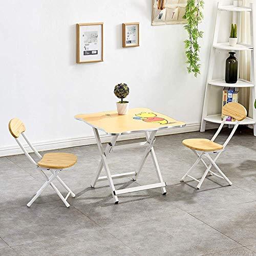N/Z Equipo Diario Mesa Plegable Cuadrado pequeño Patas Plegables fáciles de Usar para portabilidad y Almacenamiento y Juego de sillas para Picnic en la Playa al Aire Libre en Interiores (Beige