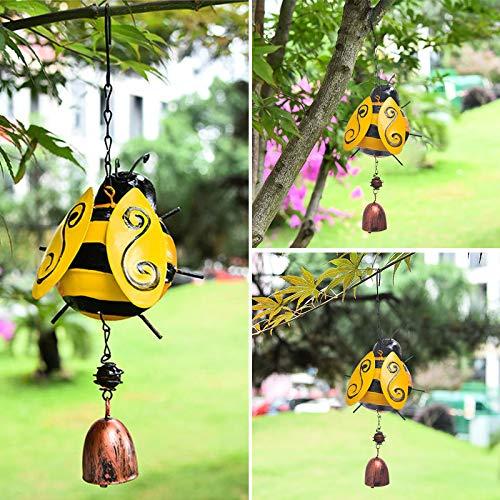SANGSHI Carillón de viento de metal, diseño de mariquita, creativo, tridimensional, móvil, campanas de viento para decoración del jardín en el dormitorio