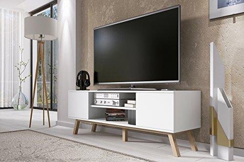 Vero Bois - Meuble tv Moderne (150 cm, Corpus Blanc Mat / Front Blanc Mat)