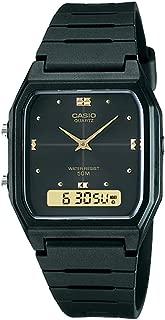 #AW48HE-1AV Men's Black Resin Band Analog Digital Dual Time Zone Watch