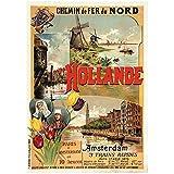 Nbqwdd Carteles De Turismo De Holanda Holanda Hollande Amsterdam Decoración Clásica De Pared Lienzo Cartel Vintage Pintura Decoración De Bar Carteles De Regalo -50X70Cmx1 Sin Marco