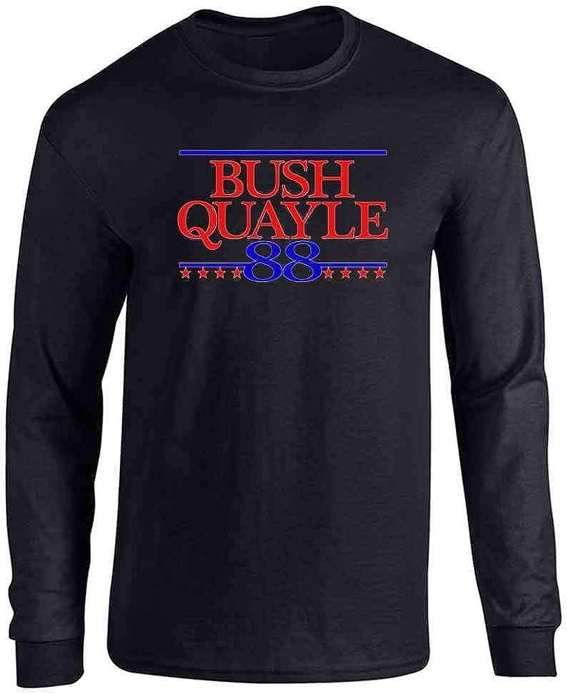 Pop Threads George Bush Dan Quayle 1988 President Campaign Black 2XL Full Long Sleeve Tee T-Shirt