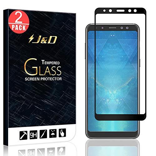 J&D Compatible pour 2 Paquet Protection écran Galaxy A8 2018, [Non Couverture Complète] [sans Bulles] Protecteur d'écran en Verre Trempé Courbé pour Samsung Galaxy A8 (Release in 2018)