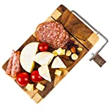 PHUPHAN Cheese Slicer Board / Wooden Cheese Cutters with Wire Cutters Board - Sliced Cheese String Cheese Muenster Cheese - Butter Food Slicer for Kitchen Cooking Cutting Tools
