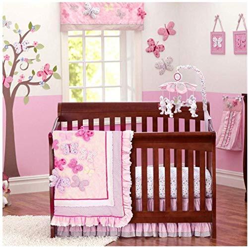 USTIDE Bettwäsche-Set für Babybetten, Baumwolle, rosa Schmetterling (Pink Butterfly), 7-Piece
