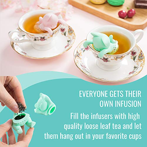 Cat Tea Infuser Gift Set for Loose Leaf Tea, Mr and Mrs Kit-Tea, cute tea strainer set for cat lovers, perfect couples gift in a set of 2, pink and mint