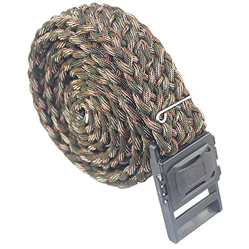 daarcin Survival Paracord Belt, Tactical Belt, Adjustable for Men and Women, with Compass,Fire Stater, Fishing Line and Hook (Camouflage)