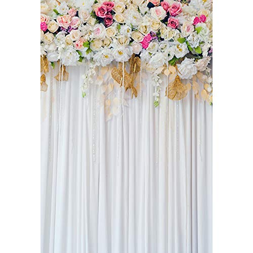 OERJU 6x4ft Wedding Backdrop Pink Rose White Little Floral Wedding Ceremony Photography Background Bridal Shower Party Banners Lover Engagement Prom Decor Baby Shower Photo Studio Props