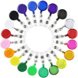 SHAN RUI 20pcs Retractable Badge Holder Reels with Clip for Name Card Key Card, 20 Colors