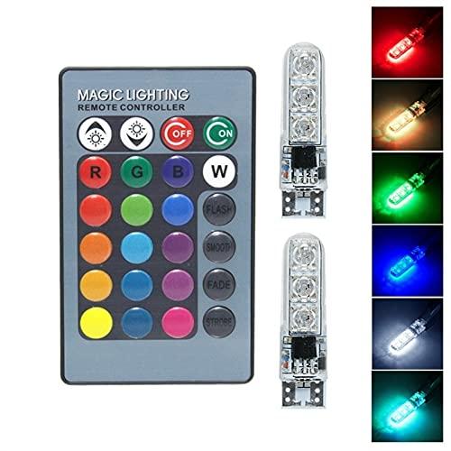 Luz con control remoto T10 RGB LED Wedge Side Speed Clearance Light W5W 194 168 Flash/Strobe Bombilla de lectura automática con control remoto Para el hogar y la cocina.