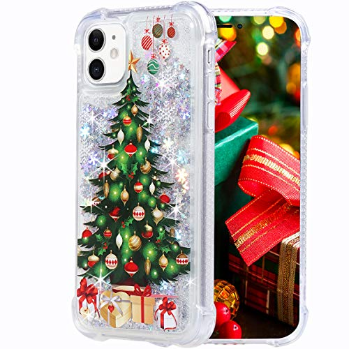 Flocute iPhone 11 Case, iPhone 11 Glitter Christmas Case Clear Bling Sparkle Floating Liquid Soft TPU Luxury Fashion Girly Women Cute Festival Holiday Phone Case for iPhone 11 (Christmas Tree)