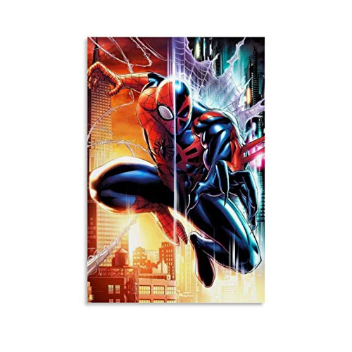 Ghychk Superhero Spider-Man Into The Spider-Verse Poster Art Paintings Bedroom Bedside Painting for Living Room Bedroom Ready to Hang 24x36inch(60x90cm)