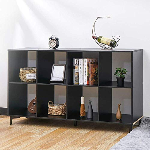 KINGSO 8 Cube Organizer 53.5' Bookshelf Bookcase with Metal Base, Vintage Walnut Finish Cube Storage Shelves Bedroom Furniture Living Room Furniture Black