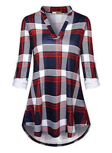Luranee Dressy Tops for Women, Ladies A Line Checkered Shirts Trendy Plaid Blouses Long Sleeve Notch V Neck Tartan Plaid Clothes Lightweight Stretchy Comfy Pretty Flowy Boutique Clothing Wine XL