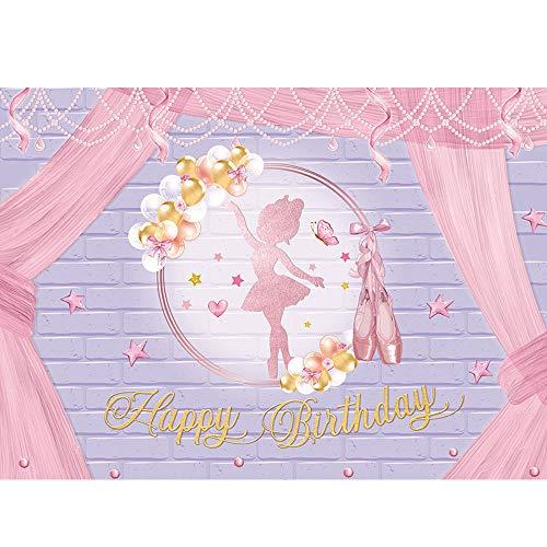 Maijoeyy 7x5ft Ballet Girl Happy Birthday Backdrop Ballet Shoes Golden Balloon Princess Ballerina Birthday Backdrops for Photography Ballet Birthday Backdrop for Girls Birthday Party Decoration
