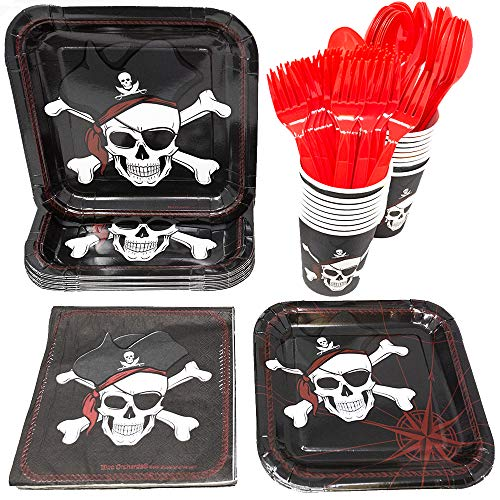 Pirate Party Supplies Pack (113+ Pieces for 16 Guests!), Kids Halloween Party, Pirate Birthday Kit, Pirate Plates, Tableware