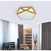 KMMK 装飾的なシャンデリア、シーリングランプ、42Cmブラックとホワイト八角形の天井のランプLedシーリングライト調光ホーム照明、三色ブラック,無段階調光,黄