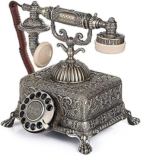 NEHARO Teléfono Fijo Retro Retro Decorativo Teléfono Creativo Dial Rotary Landline Anticipido Teléfono con Cable para Office Hotel (Color : Green Bronze, Tamaño : One Size)