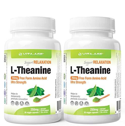 VITA-AGE【2個】L-Theanine Lテアニン 250mg配合 90日分(1日1粒/90粒入) 【海外直送品】