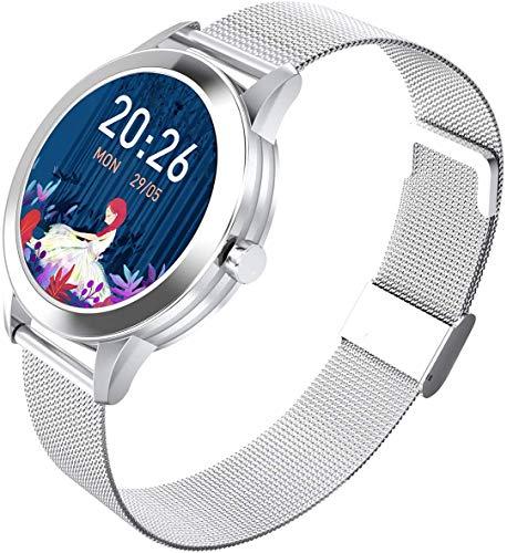 Gymqian Nuevo Smart Reloj Bluetooth Pulsera Deportes, Fitness Tracker con Monitor de Ritmo Cardíaco, Ip68 a Prueba de Agua Aptitud Del Reloj, 1,1-Pulgadas de Pantalla Táctil Complet
