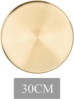 HINMAY Plateau de rangement de bijoux en acier inoxydable de forme ronde Plateau de rangement pour bijoux, cosmétiques, etc.