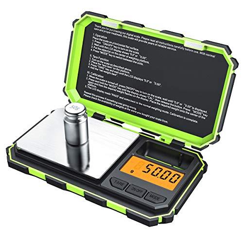Criacr Bilancia di Precisione Digitale, (200 x 0,01g) Bilancia Elettronica da Cucina con 50g Peso di Calibrazione, Portatile Bilancia Digitale con Retroilluminazione LCD, 6 unità, Funzione di Tara