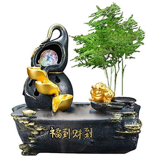LXHJZ Fuente Agua Interior - Adornos Feng Shui con Luces Colores, Bomba Agua, atomizador - Regalo Ideal para cumpleaños/Aniversario/Boda