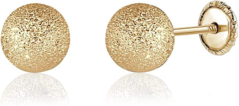 14k Yellow Gold Diamond Cut Ball Earrings Safety Screwback Covered Back 6mm