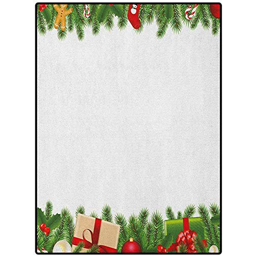 Christmas Kids Area Rug Non-Slip Playing Floor Mat for Living Room Bedroom Celebration Borders Fir Tree Classic Garland Gingerbread Man Lollipops Presents Multicolor 90' x 61'