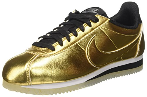 Nike Damen WMNS Classic Cortez Leather Se Trainer, metallic Gold/White/Black, 39 EU