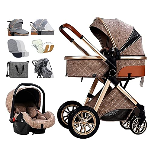 TXTC 3 in 1 Baby Stroller Carriage Letaten Foldable Luxury Pushchair Stroller Shock Absorption Springs High View Pram Baby Stroller with Mommy Bag and Rain Cover (Color : Gray)…
