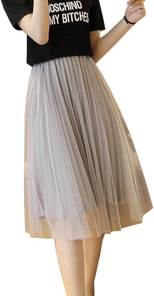 S&S-women Elegant A-Line High Waist Chiffon Pleated Ladies Short Tulle Skirt